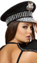 Studded police hat with rhinestones and removable silver badge.