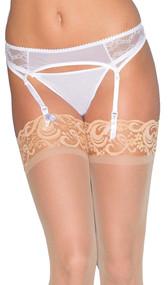 Mesh and lace garter belt with adjustable satin garters, scalloped trim, back hook clasp closure, and adjustable elastic back.