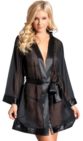 Short length sheer chiffon robe with wide cut sleeves, satin trim and sash. Relaxed fit.