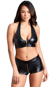 Wet look halter neck crop top with front zipper opening and tie back. Matching booty shorts with front to back zipper. Two piece set.