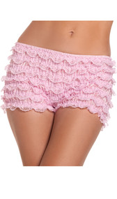 Stretch lace ruffled booty shorts.