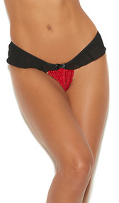 Red lace panty with black chiffon ruffle, satin bow, and peek a boo back detail.