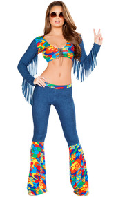 Groovy Love Child Hippie costume includes long sleeve crop top with lace up front detail, low scoop neck and fringe sleeves. Bellbottom pants with floral flared legs also included. Two piece set.
