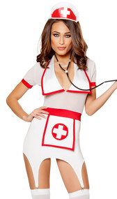 Doctor's Naughty Assistant nurse costume includes short sleeve mini dress with V neck, collar, attached medical cross apron and garters. Nurse head piece and stethoscope also included. Three piece set.