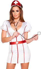 Caretaker Cutie nurse costume includes short sleeve mini dress with V neck, ruffled sleeves, front zipper and metallic glitter trim. Matching belt, head piece and stethoscope also included. Four piece set.