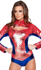 Sexy Spider Vigilante costume includes long sleeve spider web print bodysuit with metallic blue panels, mock neck, front cut out and back zipper. One piece set.