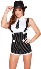 Seductive Mobster Mama costume includes pinstriped romper with attached suspenders, oversized decorative buttons, and back zipper. Sleeveless crop top with collar and attached tie. Two piece set.
