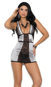 Stretch satin and Lurex lace chemise with plunging neckline, scalloped trim and peek a boo back.