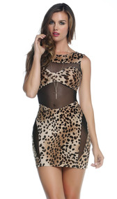 High collar illusion dress with sheer mesh contrast to create bandeau detail and side thigh exposure.