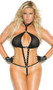 Fishnet micro teddy with vinyl trim, nail heads and o ring detail, collar with adjustable snap closure, elastic adjustable back with clasp, and elastic G-string back.
