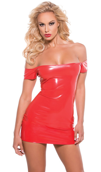 Stretch vinyl off the shoulder mini dress in racy red vinyl.
