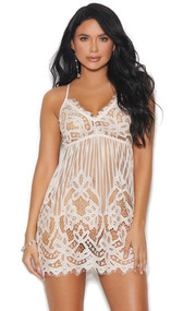 Sheer eyelash lace chemise with v neck, vertical stripes and floral detail, adjustable criss cross straps,  and back satin lace up detail.