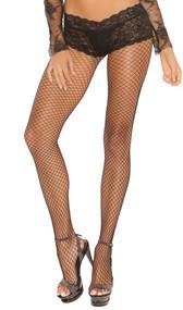 Lycra diamond net back seam pantyhose with attached panty.
