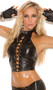 Leather halter style top with lace up front and adjustable buckle closure at neckline. Lycra back for a comfortable fit.