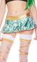 Holographic money print mini skirt with gold metallic waist band and trim. Pull on style.