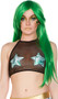 Mesh halter crop top with hologram finish money print star patches.