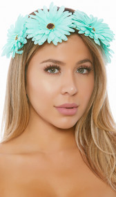 Daisy crown. Faux flowers on brown wire headband wrapped in green leaf detail. Flowers only cover half the circle, they do not go all the way around.