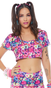 Floral print short sleeve cold shoulder crop top with crew neck.