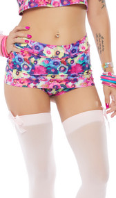 Floral print mini skirt with built in shorts and cheeky cut back. Pull on style.