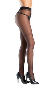 Sheer tights with thigh high polka dot and cross design.