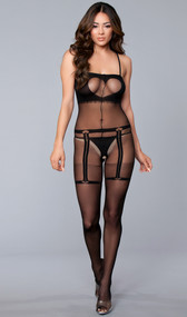 Sheer and opaque crotchless bodystocking with spaghetti straps and faux heart cut out fringe cami top, heart garter belt, thong and thigh high design.