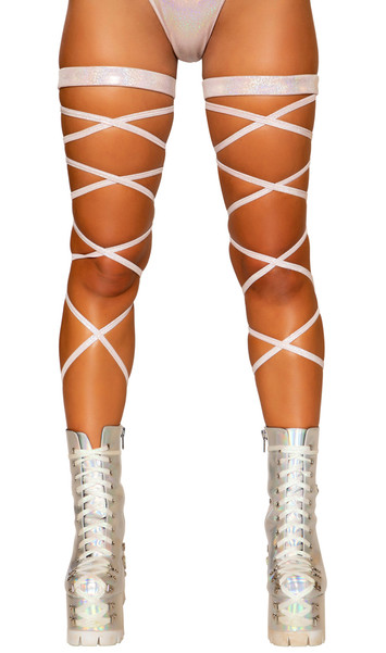 """Baby pink shimmer leg straps with attached thigh garter. 100"""" long straps, wrap around your leg and tie. Two per package."""