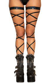 "Black shimmer leg straps with attached thigh garter. 100"" long straps, wrap around your leg and tie. Two per package."