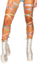 """Metallic rainbow splash leg straps with attached thigh garter. 100"""" long straps, wrap around your leg and tie. Two per package."""