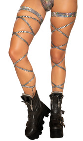 """Snake skin (faux) leg straps with attached thigh garter. 100"""" long straps, wrap around your leg and tie. Two per package."""
