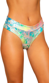 Metallic rainbow splash high rise shorts with thong cut back. Pull on style.