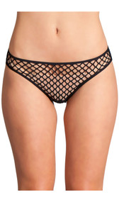 Mesh net sheer briefs. Crotch area is lined.