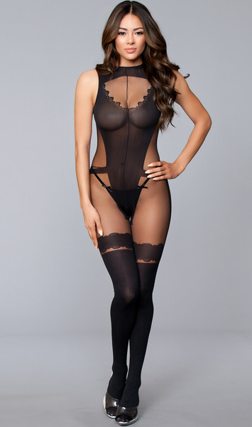 Sheer and opaque crotchless and sleeveless bodystocking with wide straps, low cut back, and faux garter teddy with lace style thigh highs design.
