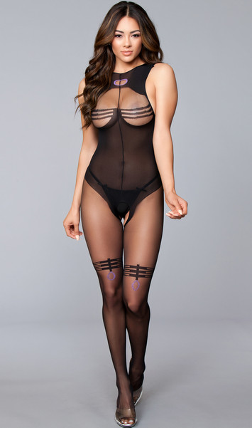 Sheer and opaque crotchless and sleeveless bodystocking with wide straps, low cut back, and faux open bust teddy with striped thigh highs design.