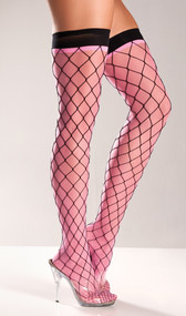 Spandex fence diamond net thigh highs with sheer neon pink underlining, which is attached.