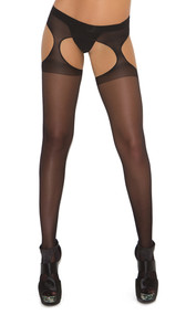 Sheer suspender pantyhose. Crotchless.