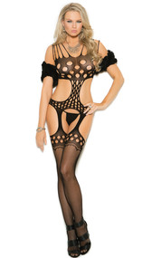 Crochet suspender bodystocking with pothole design, multiple shoulder straps, side cut outs and fishnet stockings.