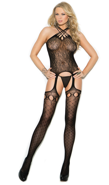 Sleeveless crochet suspender bodystocking with multi criss cross straps, lace top and diamond pattern stockings with pothole cutouts.