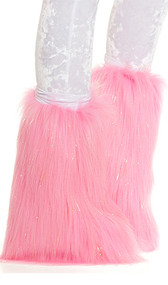 Faux fur legwarmers with shimmering metallic gold strands and velvet covered elastic top. Pair.