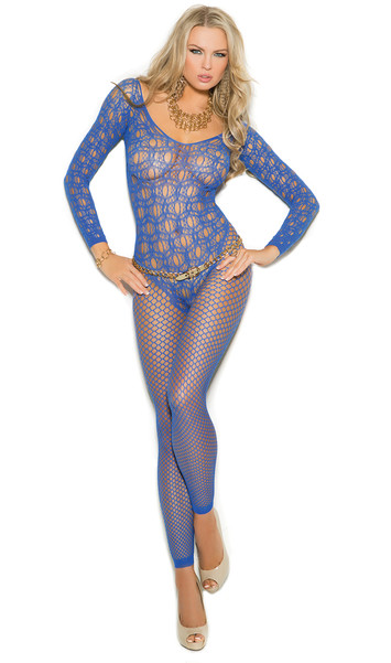 Long sleeve crochet net footless bodystocking with open crotch, fishnet legs and and scoop neck and back. Faux teddy look.