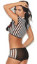 Rowdy Referee costume includes striped short sleeve mesh cami crop top with R pocket accent and plunging neckline, and matching sheer mesh booty shorts. Two piece set. Whistle not included.