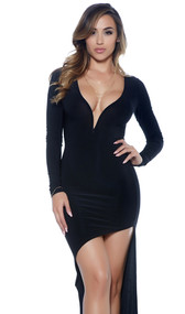 Long sleeve high-low bodycon dress with wired sweetheart neckline and asymmetrical front.