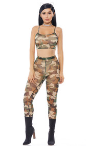 Camouflage print sheer mesh cami crop top with matching high waisted leggings. Two piece set.