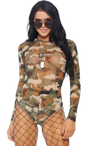 Camouflage print sheer mesh long sleeve bodysuit with back zipper closure.