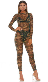 Camouflage print sheer mesh long sleeve catsuit with back zipper closure.