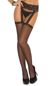 Fishnet lace top thigh high with attached lace garter belt.