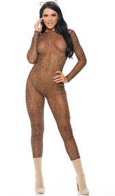 Leopard print sheer mesh long sleeve catsuit with back zipper closure.