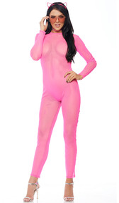 Sheer mesh long sleeve catsuit with back zipper closure.