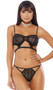 Sheer mesh and metallic bralette features  seductive cut outs, strappy details, adjustable straps, and adjustable hook and eye back closure. Matching thong panty included. Two piece set.