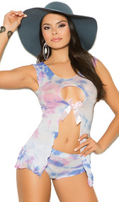 Tie dye flyaway sleeveless cami top with keyhole cut outs in front and back with satin bow detail. Matching cheeky cut booty shorts also included. Two piece set.