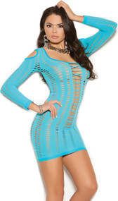 Long sleeve cold shoulder mini dress with scoop neck, pothole cut outs in a striped design, and strappy cut out detailing to give a lace up look front.